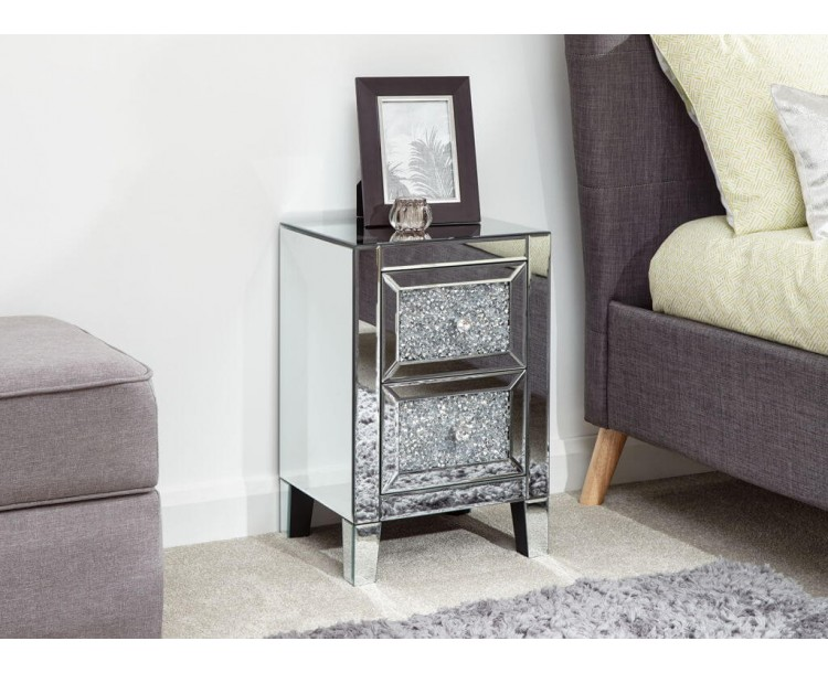 Lucia 2 Drawer Jewelled Chest Mirrored