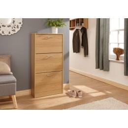 Stirling Three Tier Shoe Cabinet Oak