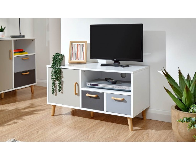 Delta Small TV Unit White/Grey Multi