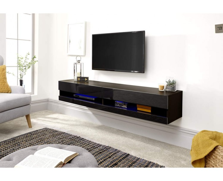 Galicia 180cm Wall TV Unit With Led Black