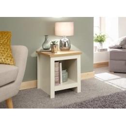 Lancaster Side Table With Shelf Cream
