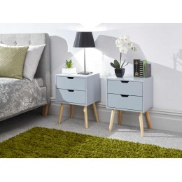 Nyborg Pair of 2 Drawer Bedsides Light Grey
