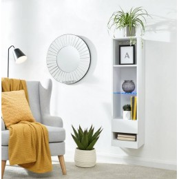 Galicia Tall Shelf Unit in White with Led Lights