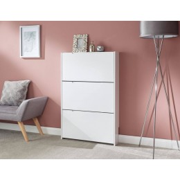 Narrow High Gloss 3 Tier Shoe Cabinet in White