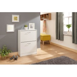 Stirling Two Tier Shoe Cabinet White