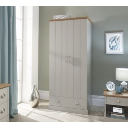 Kendal 2 Door 1 Drawer Wardrobe Grey