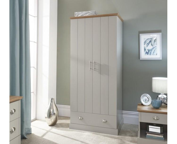 Kendal 2 Door 1 Drawer Wardrobe Grey