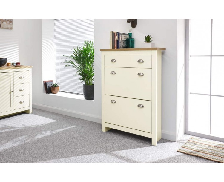 Lancaster 2 Door 1 Drawer Shoe Cabinet Cream