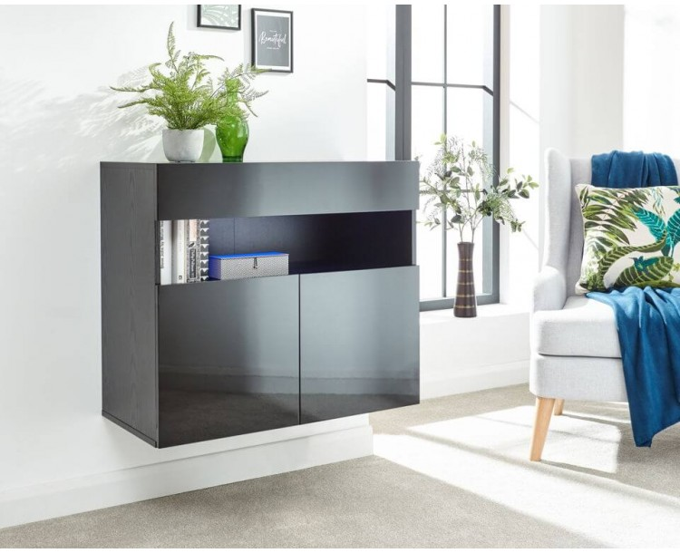 Galicia Sideboard in Black with Led Lights