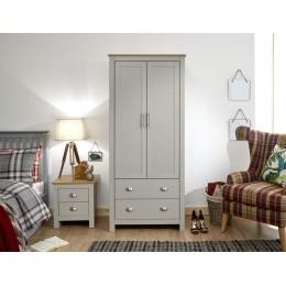 Lancaster 2 Door 2 Drawer Wardrobe Grey