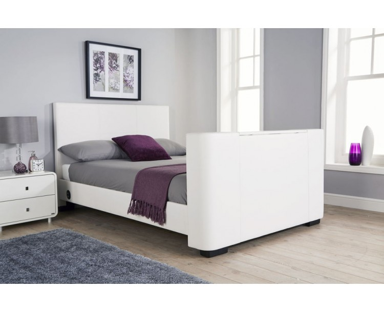 Newark 135cm Electric TV Bed White