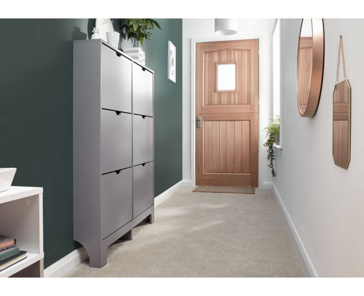 Narrow 6 Drawer Shoe Cabinet in Grey