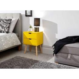 Nyborg Single 2 Drawer Bedside Yellow