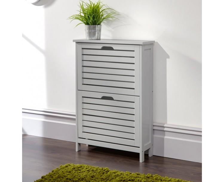 Bergen Two Tier Shoe Cabinet Grey