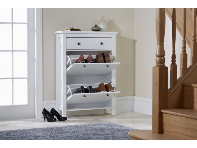 Reins Two Tier Shoe Cabinet White With Pull Out Drawer