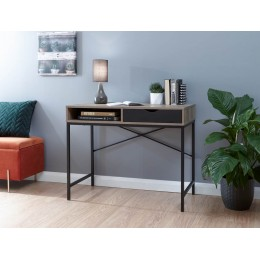 Telford Computer Desk Dark Oak & Black