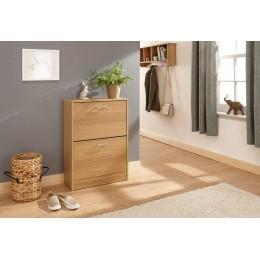 Stirling Two Tier Shoe Cabinet Oak