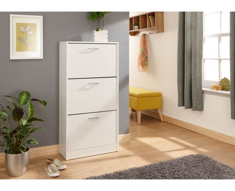 Stirling Three Tier Shoe Cabinet White
