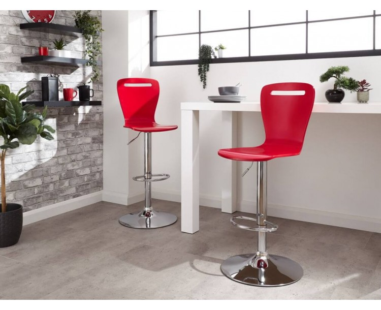 Long Island Bar Stools Pair in Red
