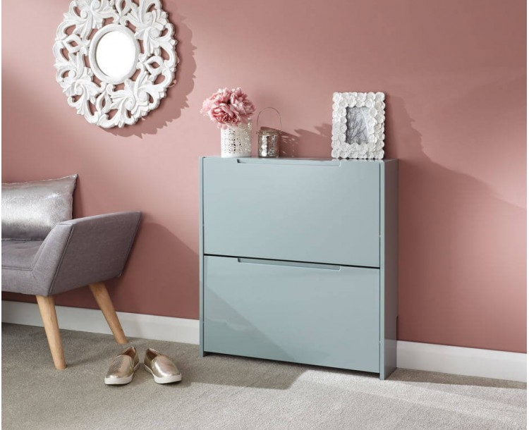 Narrow High Gloss 2 Tier Shoe Cabinet in Grey