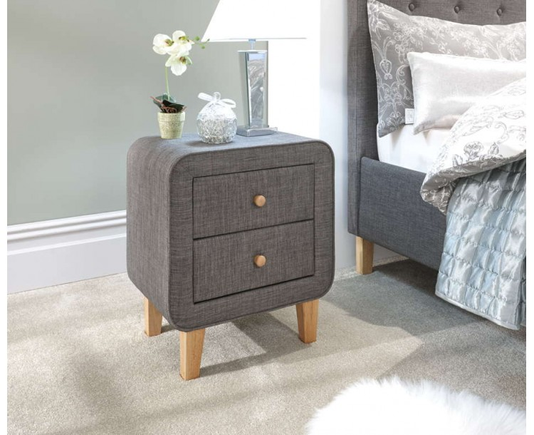 Ashbourne 2 Drawer Bedside Dark Grey