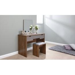 Elizabeth Dressing Table Set Walnut + Grey