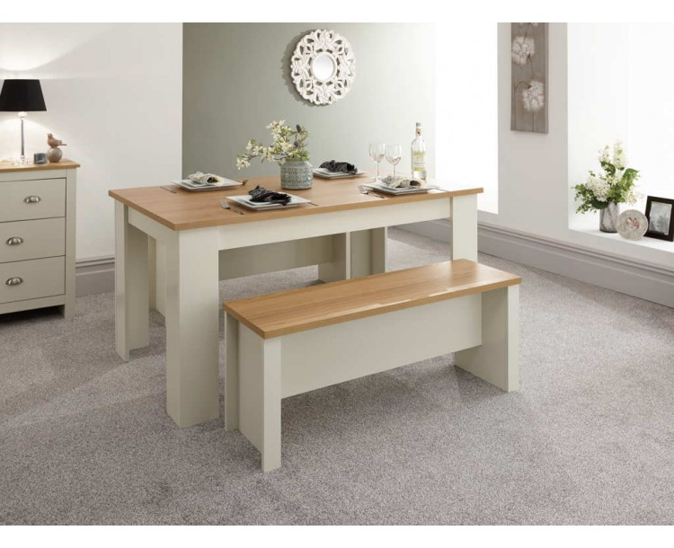 Lancaster 150cm Dining Table & Benches Cream