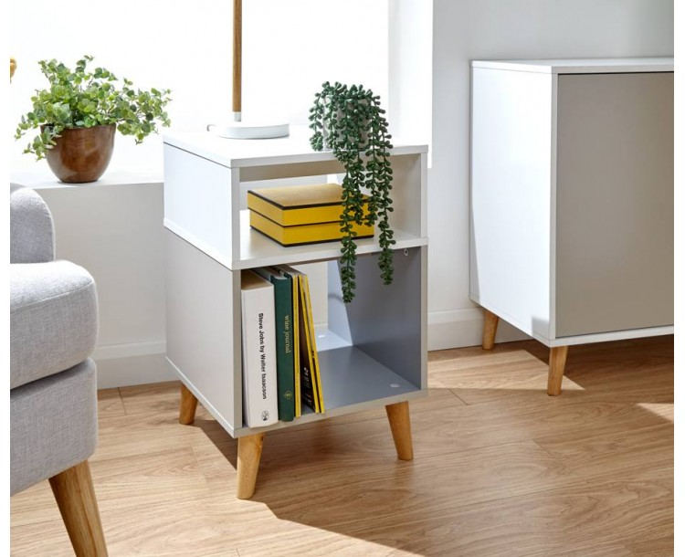 Delta Lamp Table White/Grey Multi