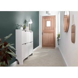 Narrow 4 Drawer Shoe Cabinet in White
