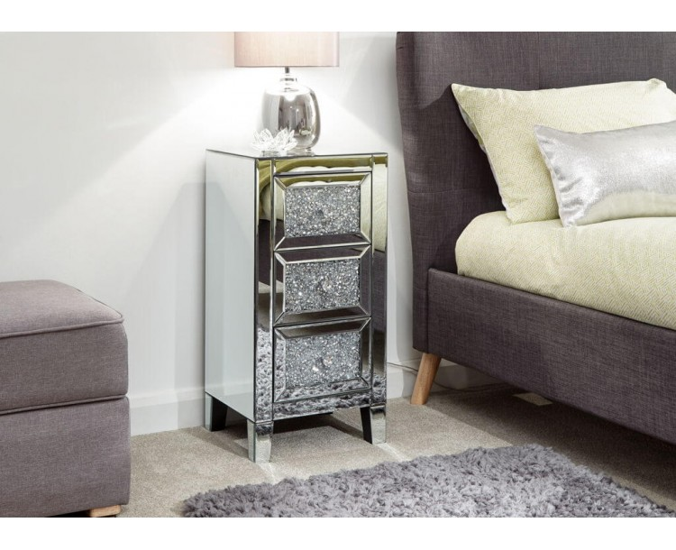 Lucia 3 Drawer Jewelled Chest Mirrored