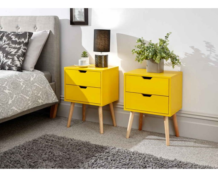 Nyborg Pair of 2 Drawer Bedsides Yellow