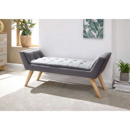 Milan Upholstered Bench Dark Grey Hopsack