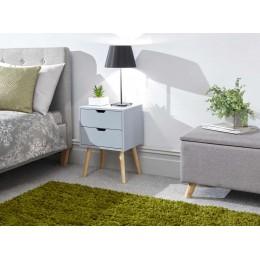 Nyborg Single 2 Drawer Bedside Light Grey