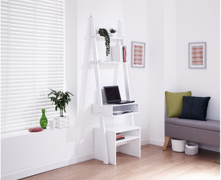 Ladder Desk + Stool Set White