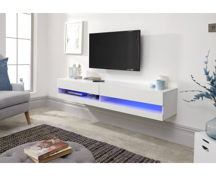 Galicia 180cm Wall TV Unit With Led White