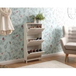 Bergen Scandinavian 3 Tier White Hallway Shoe Cabinet