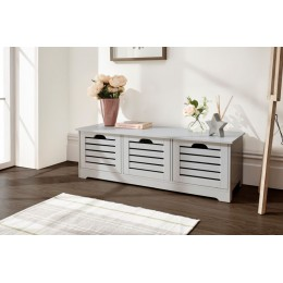 Scandinavian Bergen 3 Door Low Storage Unit in Grey