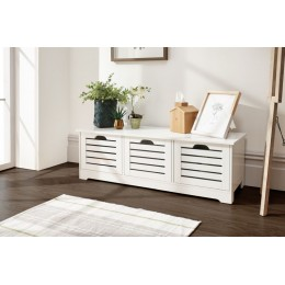 Scandinavian Style White Bergen 3 Door Low Storage Unit