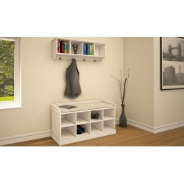 Modern White Kempton Two Tier Hallway Shoe Bench