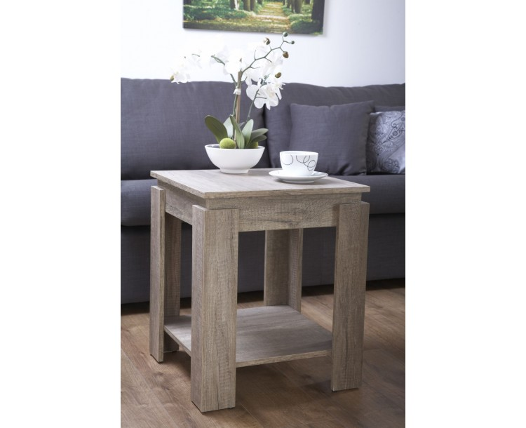Canyon Grey Oak Living Room Lamp End Table With Undershelf