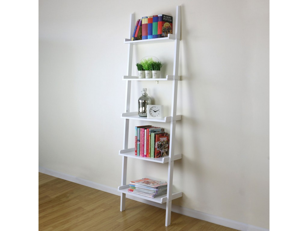 Cyprus White 5 Tier Ladder Shelving Display Unit Storage