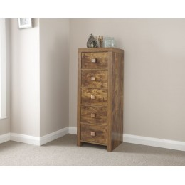 Chunky Traditional Jakarta Mango Slim Chest of 5 Drawers