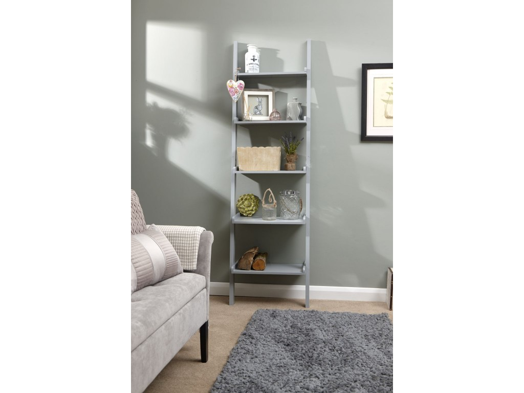 Contemporary Cyprus Grey 5 Tier Ladder Shelving Wall Rack Unit