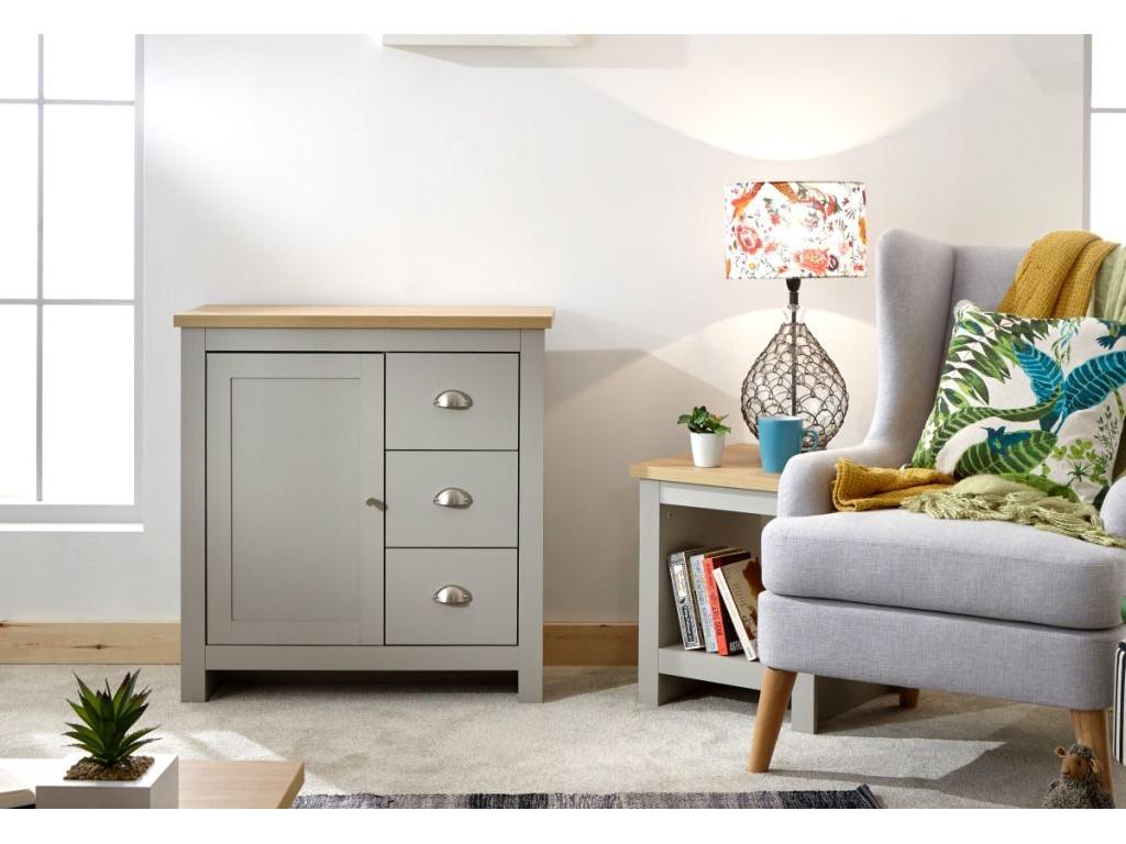 Contemporary Lancaster Grey 3 Drawer 1 Door Multi Storage Cabinet