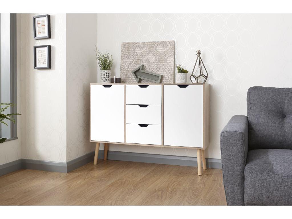 white oak 3 drawers stockholm living room sideboard