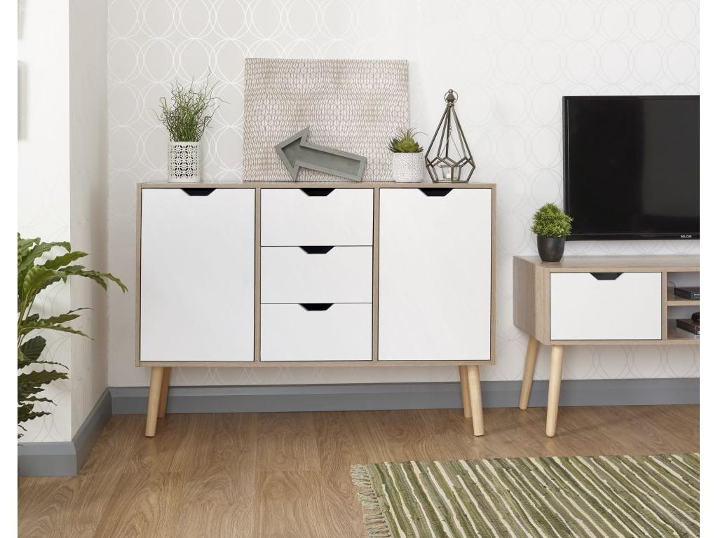 White Oak 3 Drawers Stockholm Living Room Sideboard ...