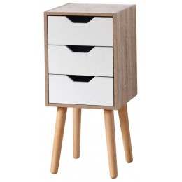 Contemporary White and Oak Stockholm 3 Drawer Slim Chest
