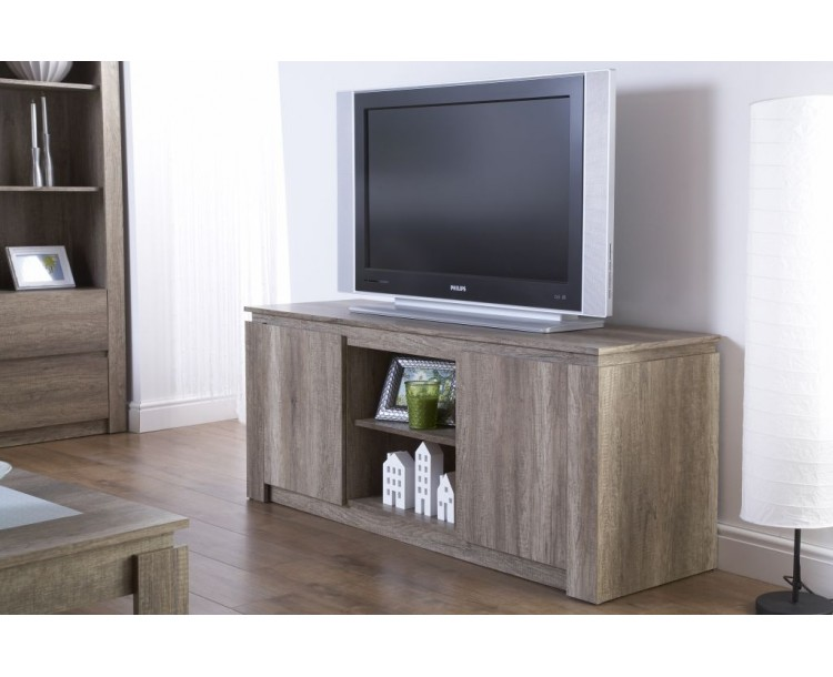 Rustic Contemporary Style Canyon Oak TV Cabinet Stand
