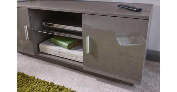 Lima 2 Door 2 Shelves High Gloss Tv Unit In Grey Living Room