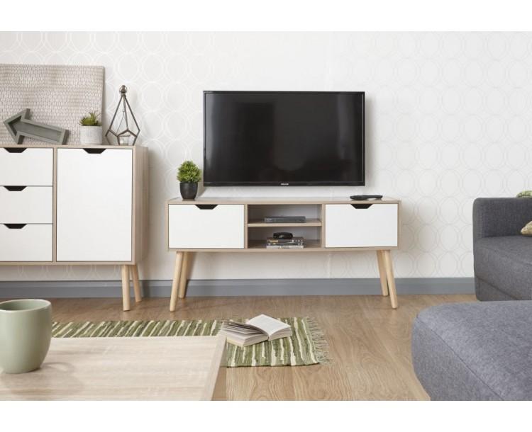 Stockholm Rubberwood TV Cabinet in White Oak